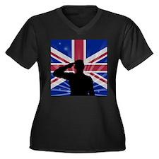 Military Salute On England Flag Plus Size T-Shirt