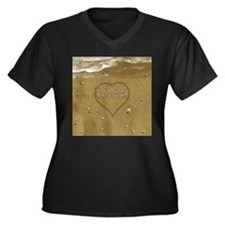 Leticia Beac Women's Plus Size V-Neck Dark T-Shirt
