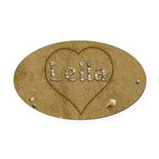 Leila Beach Love Oval Car Magnet