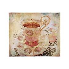 Victorian Cup of tea Throw Blanket
