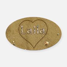 Laila Beach Love Oval Car Magnet