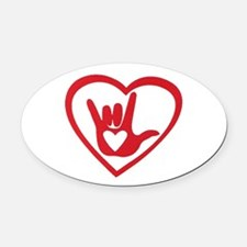 I love you with all my heart Oval Car Magnet