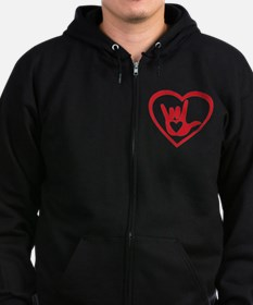 I love you with all my heart Zip Hoodie