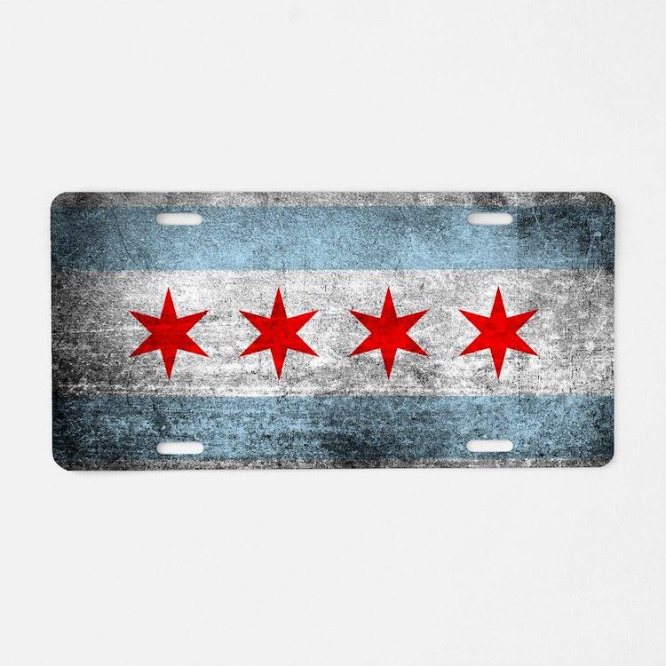 Cute Chicago flag Aluminum License Plate