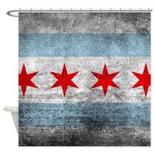 Vintage Distressed Chicago Flag Shower Curtain