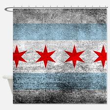 Vintage Distressed Chicago Flag Shower Curtain