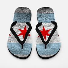 Vintage Distressed Chicago Flag Flip Flops