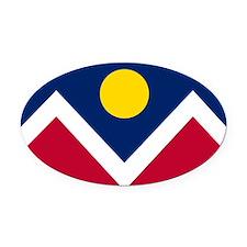 Flag of Denver Colorado Oval Car Magnet