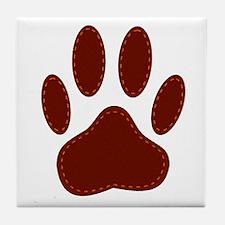 Stitched Felt Dog Paw Print Tile Coaster