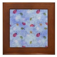 Lady Bugs with Leaves and Daisies Framed Tile