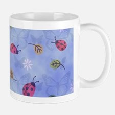 Lady Bugs with Leaves and Daisies Mugs