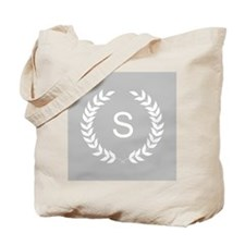 Grey and White Monogram Laurel Wreath Tote Bag