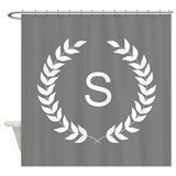 Brown and white monogram laurel Shower Curtains