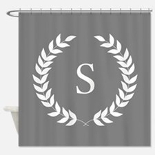 Dark Grey and White Monogram Laurel Shower Curtain
