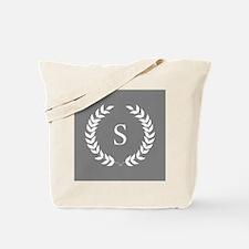 Dark Grey and White Monogram Laurel Wreat Tote Bag