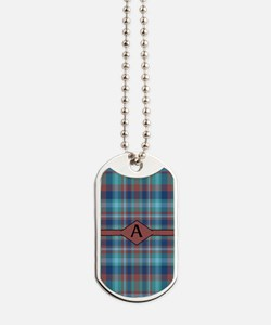 Marsala Plaid Monogram Dog Tags