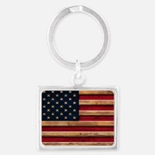 American Flag Vintage Distressed Wood Keychains