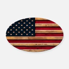American Flag Vintage Distressed W Oval Car Magnet