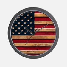 American Flag Vintage Distressed Wood Wall Clock