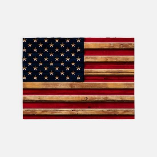 American Flag Vintage Distressed Wo 5'x7'Area Rug