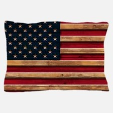 American Flag Vintage Distressed Wood Pillow Case