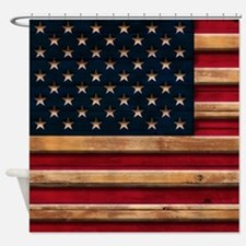 American Flag Vintage Distressed Wo Shower Curtain