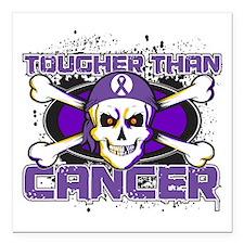 "Pancreatic Cancer Tough Square Car Magnet 3"" x 3"""