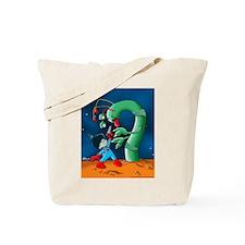 Spaceman & Dinosaur Worm Tote Bag