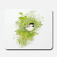 Cute Chickadee Bird in Poplar Tree Mousepad