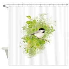 Cute Chickadee Bird in Poplar Tree Shower Curtain