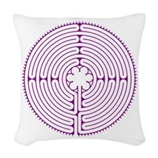 Chartres Labyrinth Woven Throw Pillow - Purple