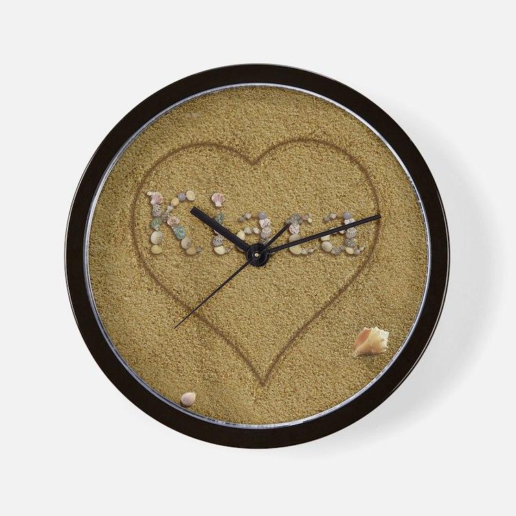 Kiara Beach Love Wall Clock