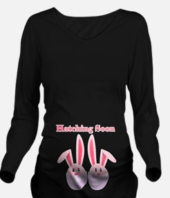 Hatching Soon Twins - Pink Long Sleeve Maternity T