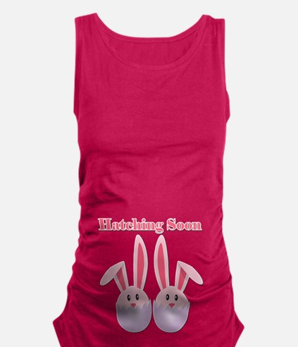 Hatching Soon Twins - Pink Maternity Tank Top
