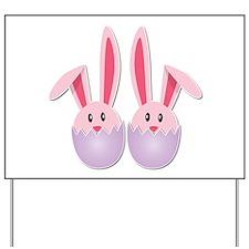 Hatching Bunnies Pink Twins Yard Sign