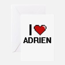 I Love Adrien Greeting Cards