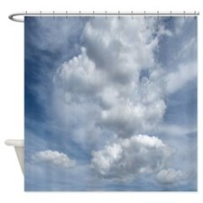White Fluffy Clouds and Blue Sky Shower Curtain