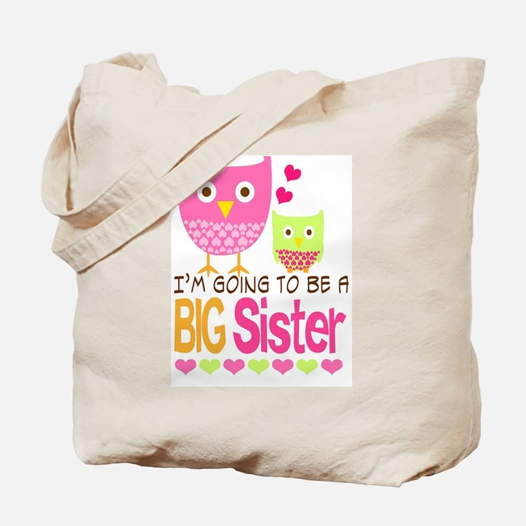 Big Sister Baby Owls I'm Going to be a Bi Tote Bag