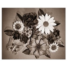 Daisy Crazy Black and White Poster