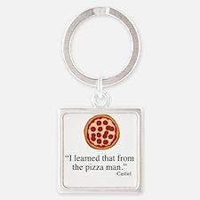 Supernatural Castiel's Pizzaman Square Keychain
