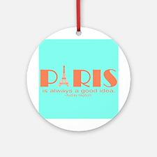 Audrey Hepburn Paris Quote Ornament (Round)