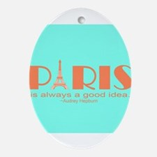 Audrey Hepburn Paris Quote Ornament (Oval)
