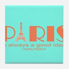 Audrey Hepburn Paris Quote Tile Coaster