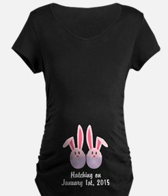 CUSTOM Hatching Bunnies Twins Pink Maternity T-Shi