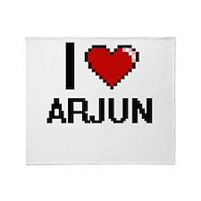 I Love Arjun Throw Blanket