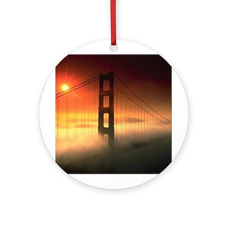 Fog Shrouded Golden Gate Ornament (Round)