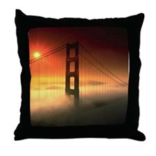 Fog Shrouded Golden Gate Throw Pillow