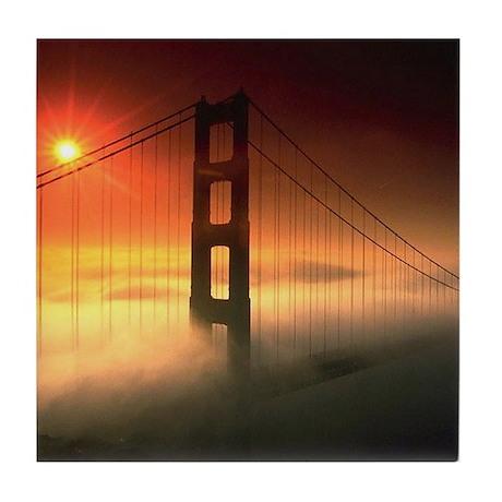 Fog Shrouded Golden Gate Tile Coaster