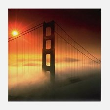 Fog Shrouded Golden Gate Tile Coaster