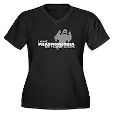 Ghost-Phobia Women's Plus Size V-Neck Dark T-Shirt